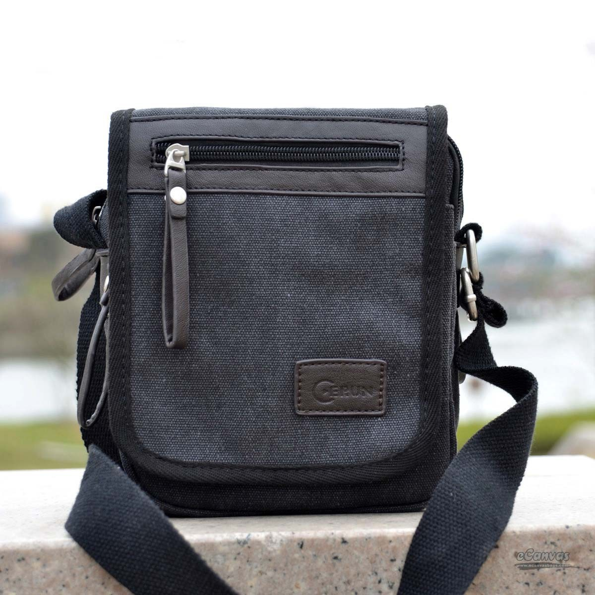 Canvas shoulder bag, business sling bag, black, coffee - E-CanvasBags