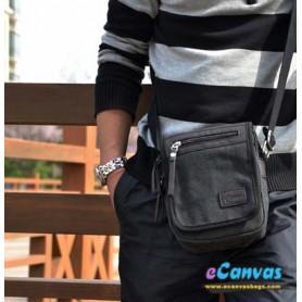 mens Canvas shoulder bag black