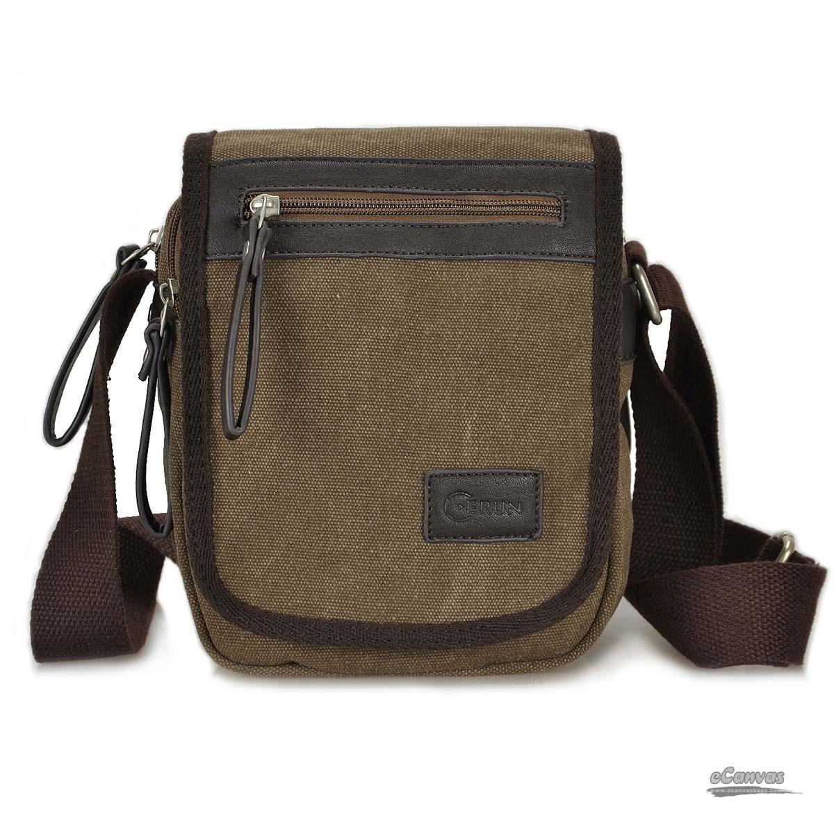 Canvas shoulder bag, business sling bag, black, coffee - E ...