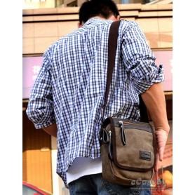 Canvas shoulder bag coffee for men