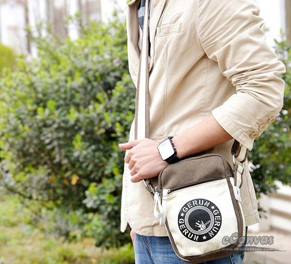 Mini sling bag, canvas satchel bag, black, coffee - E-CanvasBags