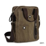 Retro business bag,canvas messenger bags for men, khaki, coffee