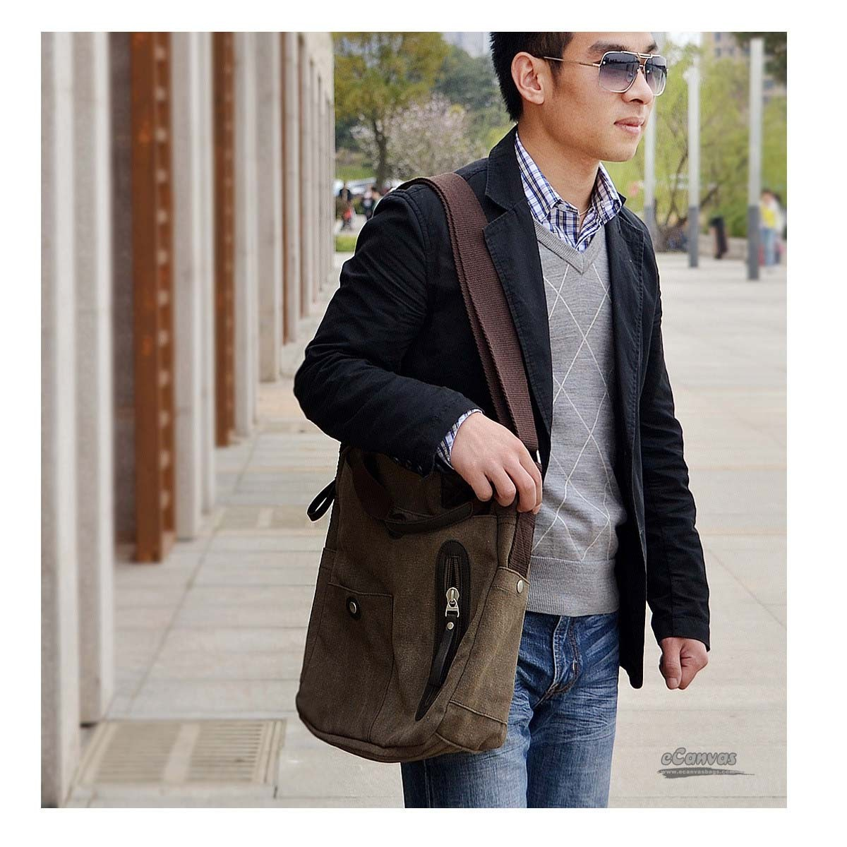 Retro business bag,canvas messenger bags for men, khaki, coffee ...