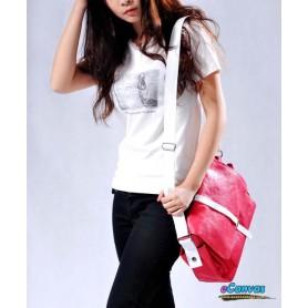 womens canvas shoulder bag red