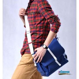 mens canvas shoulder bag blue