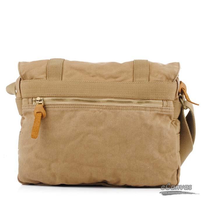 Canvas Messenger Bag Mens Book Bag Yellow Khaki E