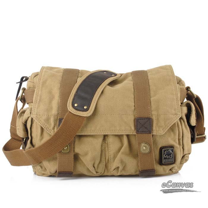 Mens messenger bag, retro canvas bag, yellow, khaki - E-CanvasBags