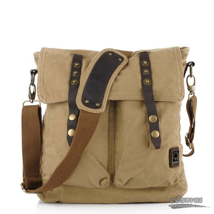 Canvas side bag, khaki mens school book bag - E-CanvasBags