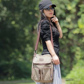 Canvas messenger bag coffee for women