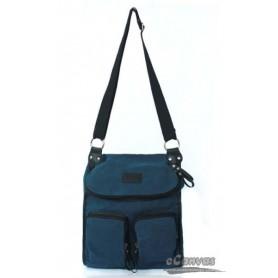 Canvas messenger bag blue for ladies