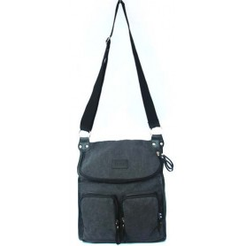 Canvas messenger bag for ladies grey