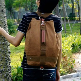 Canvas school backpack yellow for men