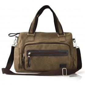 Canvas shoulder bags for women, 13 inch laptop bag, coffee, black