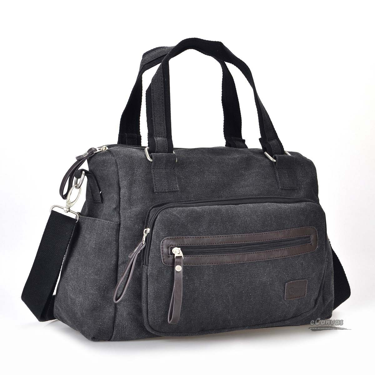 Canvas shoulder bags for women, 13 inch laptop bag, coffee, black ...