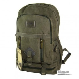 canvas traveling laptop backpack army green