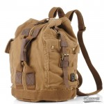 Retro canvas backpack with cowhide trim, khaki traveling bucket bag