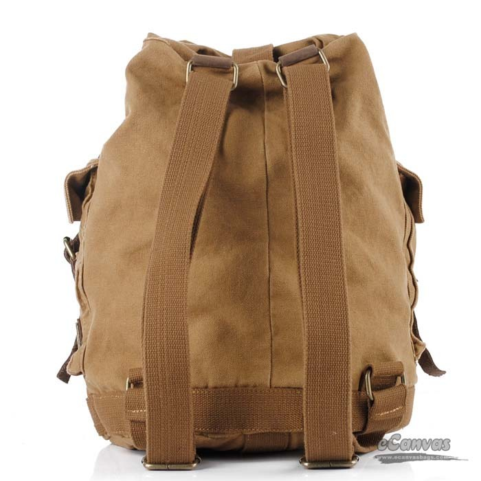 Retro canvas backpack with cowhide trim, khaki traveling bucket ...