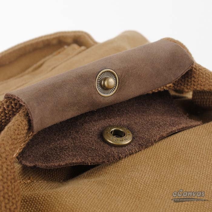 Retro Canvas Backpack With Cowhide Trim Khaki Traveling
