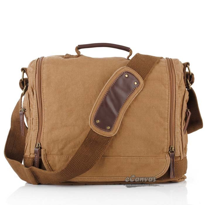 Canvas shoulder bag, khaki mens laptop bag - E-CanvasBags