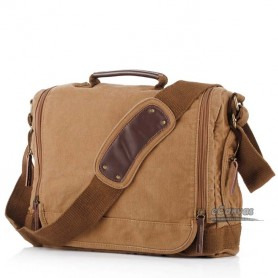 Canvas shoulder bag khaki mens laptop bag