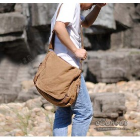 Canvas shoulder bag khaki for boys