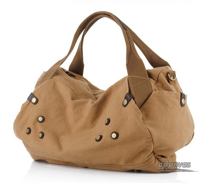 Canvas large shoulder bag, khaki over shoulder bag - E-CanvasBags
