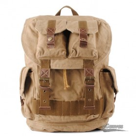 Khaki climbing back left shoulder bag, CANVAS DUFFLE BAG TRAVEL