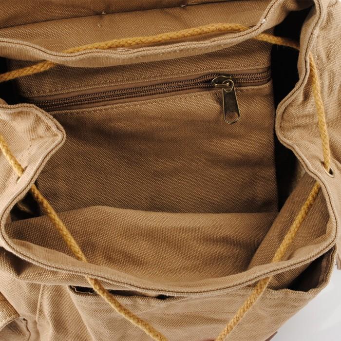 Khaki Climbing Back Left Shoulder Bag Canvas Duffle Bag