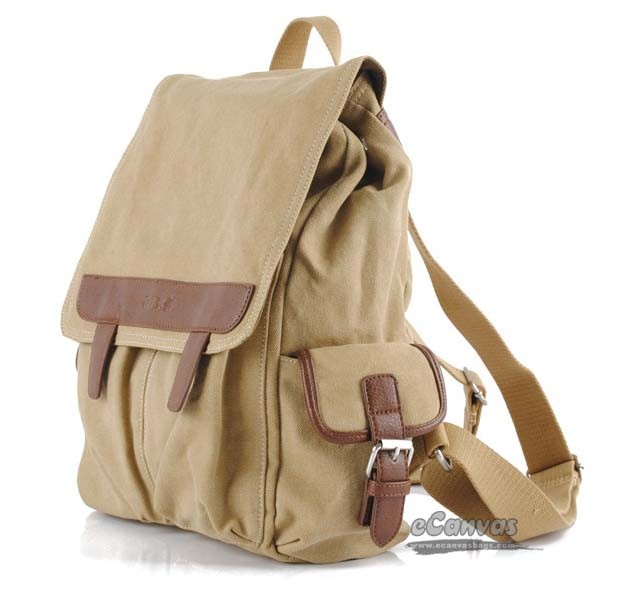 khaki Women's casual bag, canvas backpack, canvas purse - E-CanvasBags