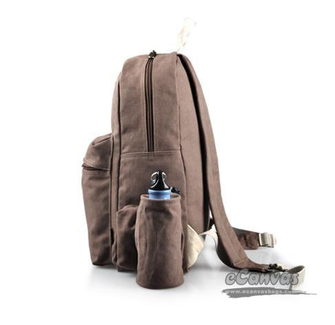 012756f539 ... Canvas laptop ipad backpack brown for women; black detachable water  bottle pocket ...