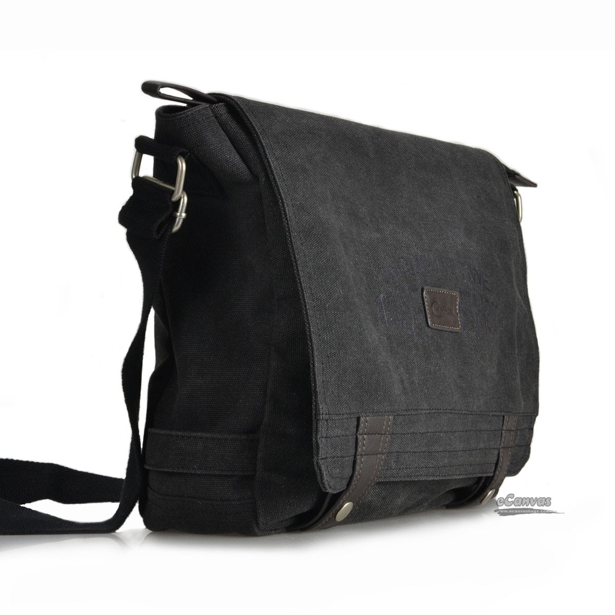 Canvas mens messenger bag retro book bag, black, coffee - E-CanvasBags