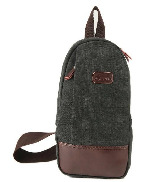 Canvas Sling Shoulder Black Single Strap Backpack E