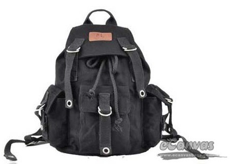 Canvas zipper laptop black backpack for women - E-CanvasBags