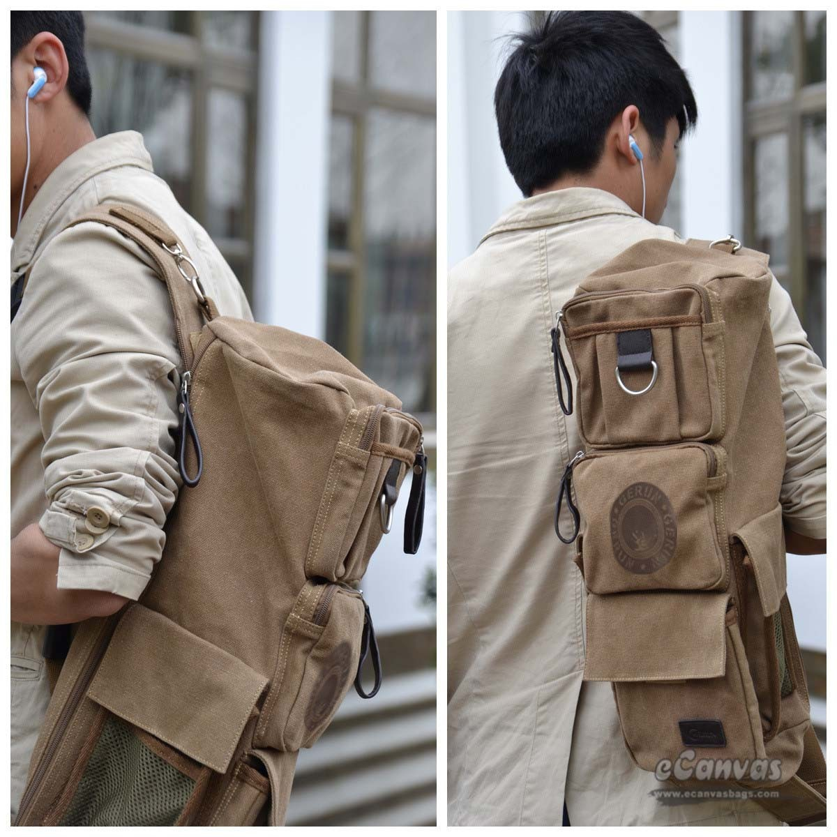 Jeep Wave Hand High Five Vintage Rucksack Backpack With Leather Straps Khaki