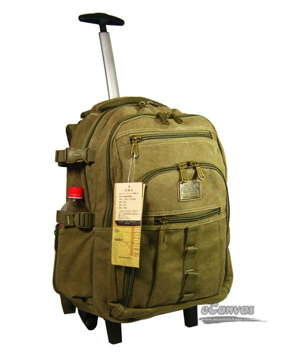 Weekend travel laptop bag, canvas rolling backpack, army green ...