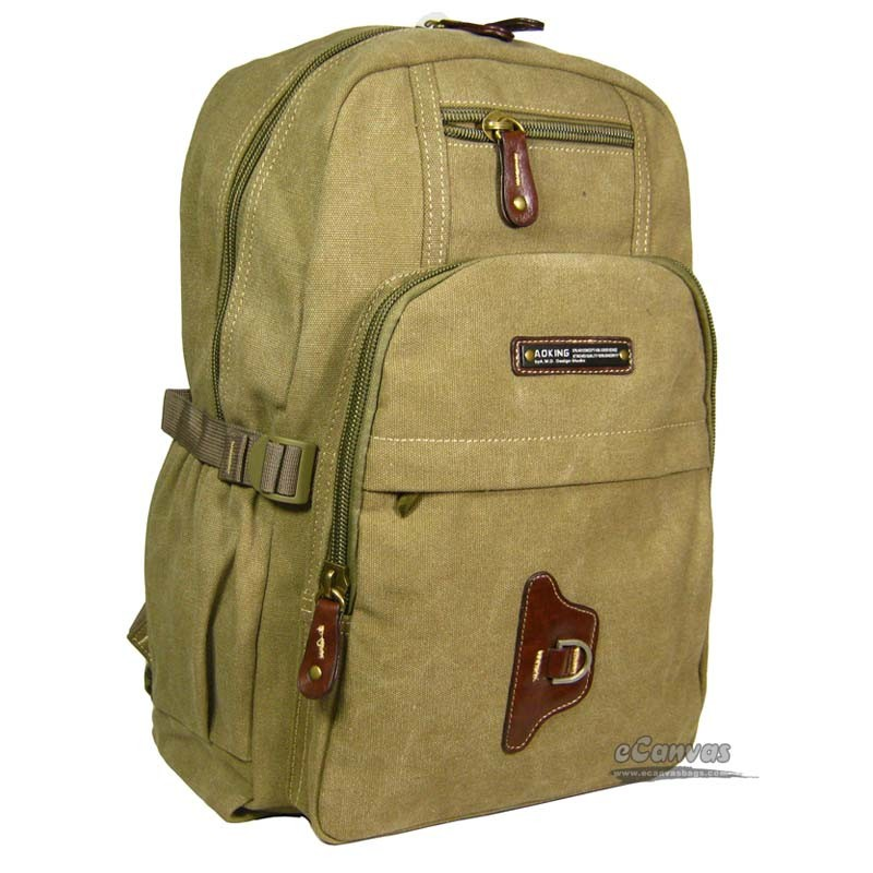 Canvas large travel bag, 14 laptop backpack, army green, black ...