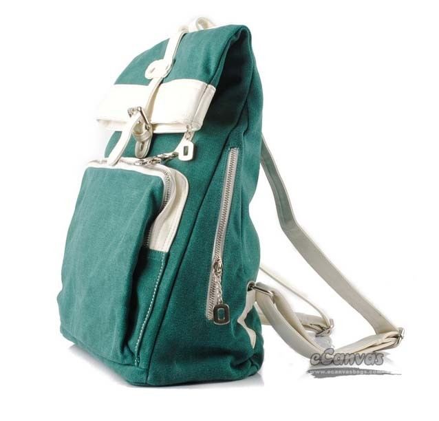 New college canvas shoulder bag, canvas hobo bag, green & blue - E ...