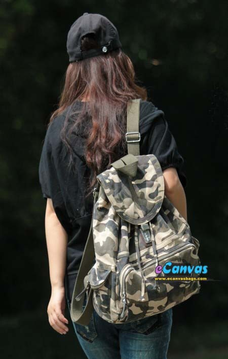 Canvas backpack with code locks beige black camo - E-CanvasBags