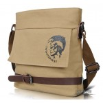 Mens school casual shoulder messenger bag khaki
