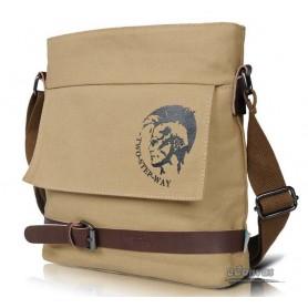 Mens school casual shoulder messenger bag khaki black