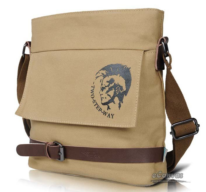 Mens school casual shoulder messenger bag khaki black - E-CanvasBags