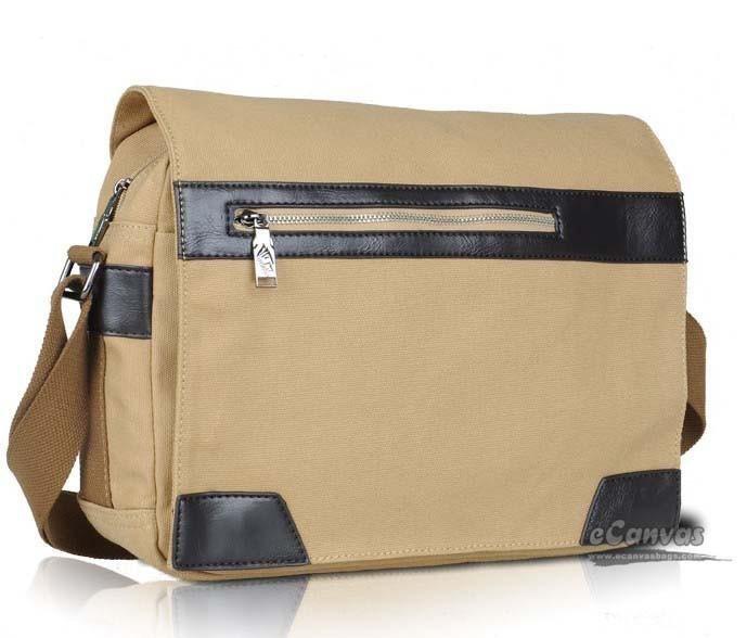 Men's messenger satchel bag khaki black - E-CanvasBags