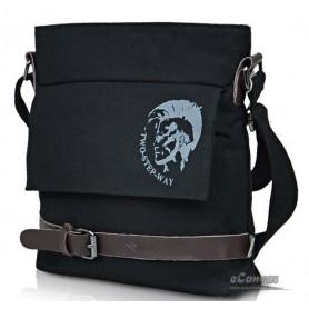 Mens school casual shoulder messenger bag black