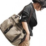 Canvas plain messenger bag for ladies coffee grey