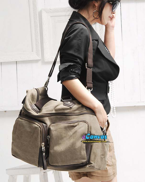 Womens Canvas Plain Messenger Bag Coffee