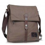 Mens canvas shoulder messenger satchel bag with cowhide trim khaki coffee