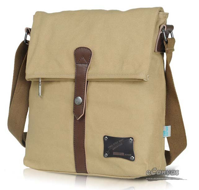 Mens Canvas Shoulder Messenger Satchel Bag Khaki