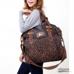 European leopard-print canvas shoulder bag 3 colors