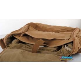 Canvas shoulder bag khaki mens laptop bag