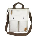 Eco-Friendly Canvas Shoulder Bags, Canvas Flight Bag, off-white & black